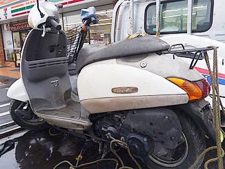 所沢市で無料引き取り廃車したホンダ タクト(白)