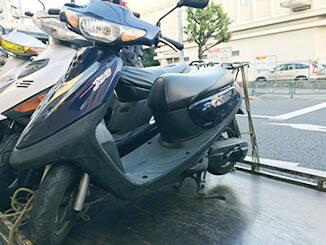 東京都多摩市で無料で引き取り処分と廃車をしたヤマハ ジョグC(ブラック)