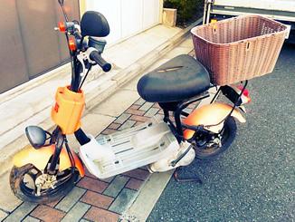 浦安市日の出で無料で引き取り処分したスズキ チョイノリSS(オレンジ・後部カゴ付)