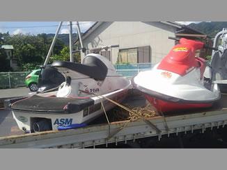千葉県安房郡鋸南町保田で有料で引き取りしたヤマハとシードゥーのジェットスキー2台