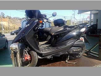 取手市戸頭2丁目で無料で引き取りと廃車をした原付バイク JOG ZRの事故車