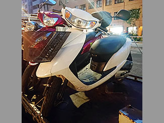 新宿区須賀町で無料で廃車と処分をした原付バイクのホンダ Dio4/サイクル ホワイト
