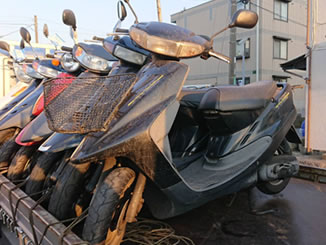船橋市新高根1丁目で無料で廃車と処分をした原付バイクのヤマハ アクシス50 ブラック
