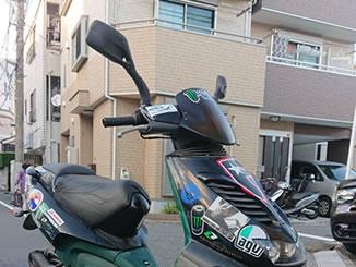 足立区竹の塚4丁目で無料で廃車と処分をしたアプリリア SR50 ブラック×グリーン