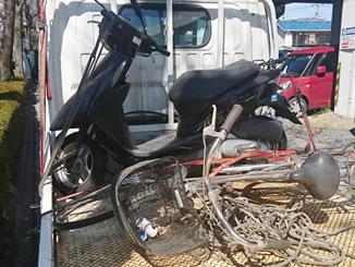 古河市本町4丁目で無料で引き取り処分と廃車をした原付バイクのDioと自転車