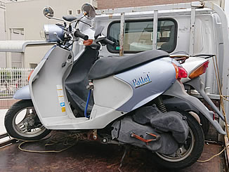 市川市田尻で無料で引き取り処分と廃車をした原付バイクのスズキ レッツ4 パレット