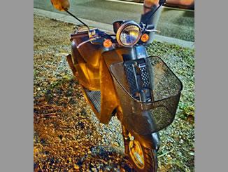 横浜市神奈川区で無料で引き取り処分と廃車手続き代行をした原付バイクのホンダ 初代トゥデイ 前カゴ付き