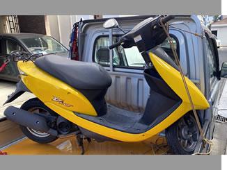 西東京市で無料で引き取り処分と廃車手続き代行をした原付バイクのホンダ Dio(BA-AF62)  オリオンイエロー×マットアクシスグレイメタリック色(2トーン)