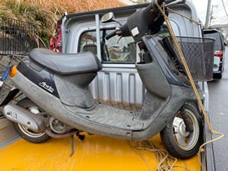 千葉市稲毛区稲毛で無料で引き取り処分と廃車手続き代行をした原付バイクのヤマハ JOGアプリオ ブラック