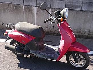 川口市内で無料で引き取り処分と廃車手続き代行をした原付バイクのホンダ トゥデイ キャンディルーシッドレッド